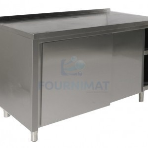 Stainless steel cupboard on legs with sliding doors and back edge