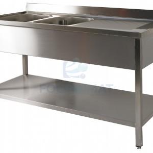 Stainless steel sink 2 sinks + draining board bin