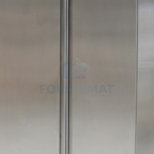 High stainless steel cupboard with 3 shelves on legs sliding doors