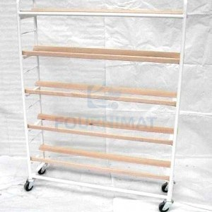 Shelf for loafs simple white with oblique laths 5 floors