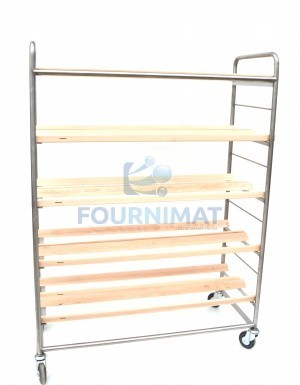 Shelf for loafs single stainless steel with oblique laths 5 floors