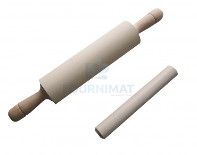 Wooden rolling pin with rubber