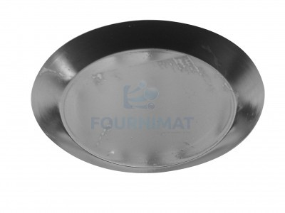 Pie dish with flared even edge in alusteel, edge 3.5cm