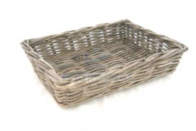 Grey wicker basket 45X30X10 closed