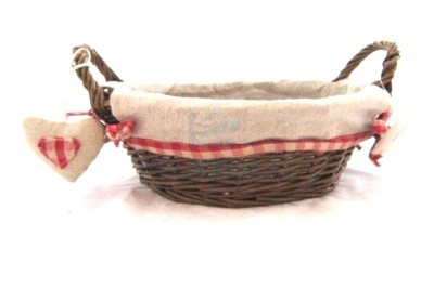 Round basket wicker and textile 24X17X9