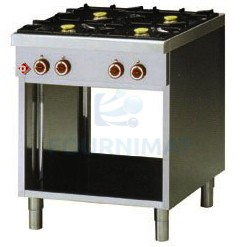 Gas portable stove with 4 rings on legs open cupboard