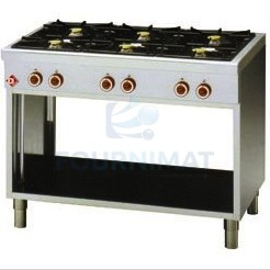 Gas portable stove with 6 rings on legs open cupboard