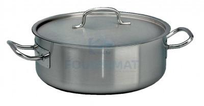 RVS kookpan geschikt voor alle warmtebronnen zeer laag deksel inbegrepen