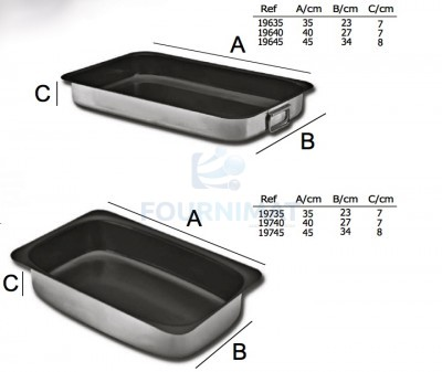 Non-stick roasting dish with hanging handles