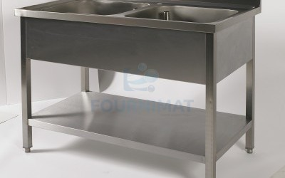 Stainless steel sink 2 sinks with undershelf bin 40x50xH27,5