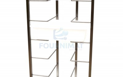 Stainless steel trolley for dough balls for rectangular or round dough container