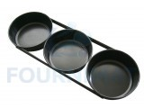 Assemblage de formes à pains ronds par 3 en tôle noire