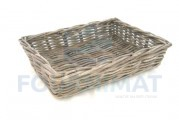 Grey wicker basket 45X30X10 closed