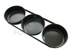 Set of 3 round loaf pans in blue stainsteel