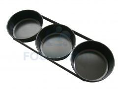 Set 3 ronde broodvormen in zwarte staal