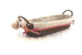 Basket wicker and textile 42X18X10